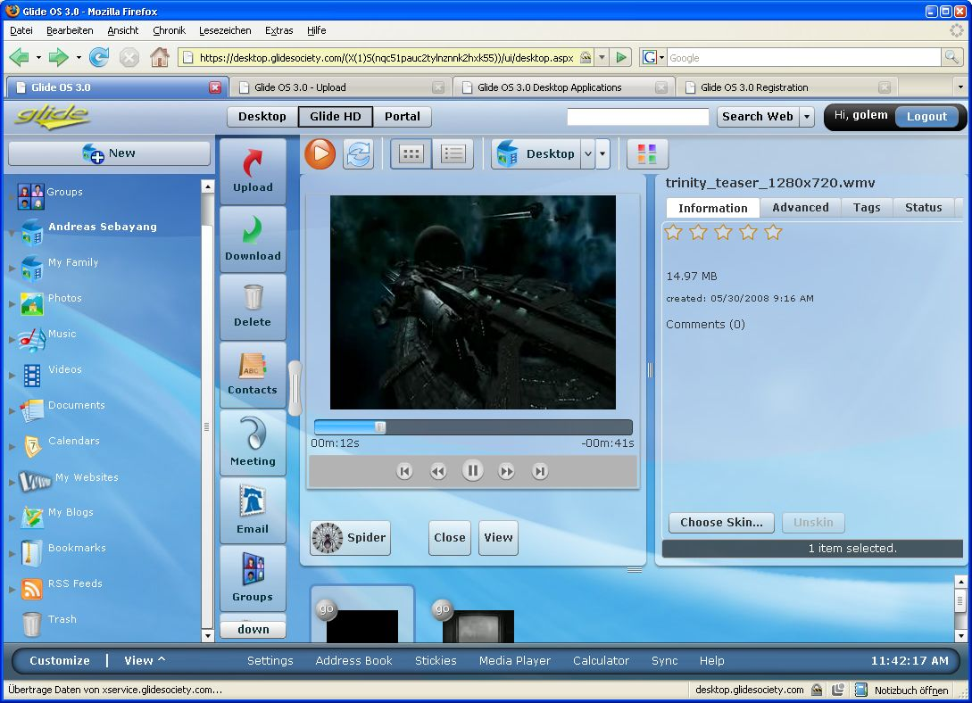 Glide OS - ein Desktop auf allen Geräten - Videos abspielen in GlideOS