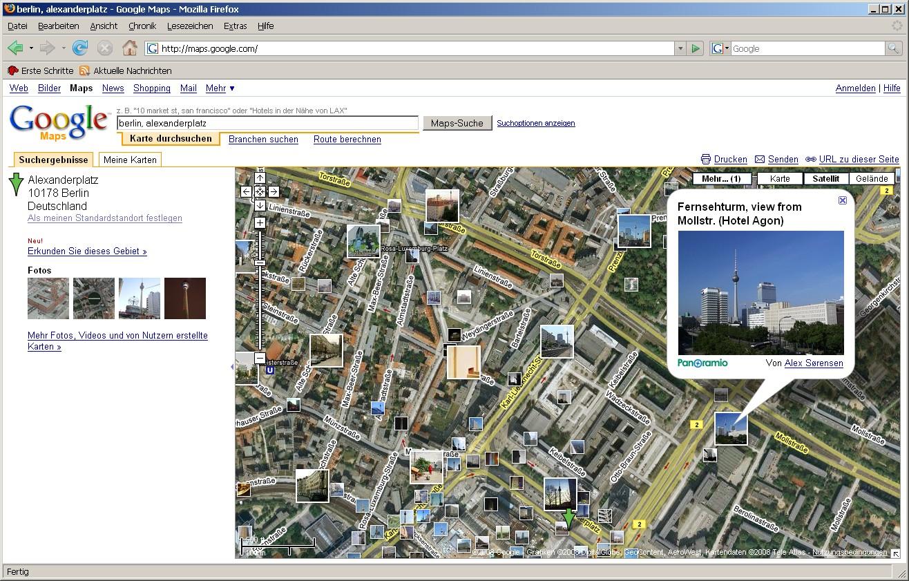 Google Maps mit Wikipediainhalten und Panoramiofotos - Google Maps mit Panoramiofotos