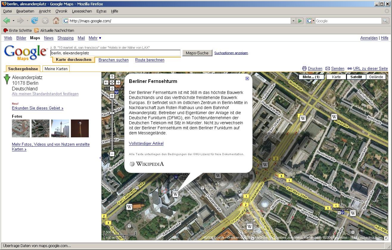 Google Maps mit Wikipediainhalten und Panoramiofotos - Google Maps mit Wikipediainhalt