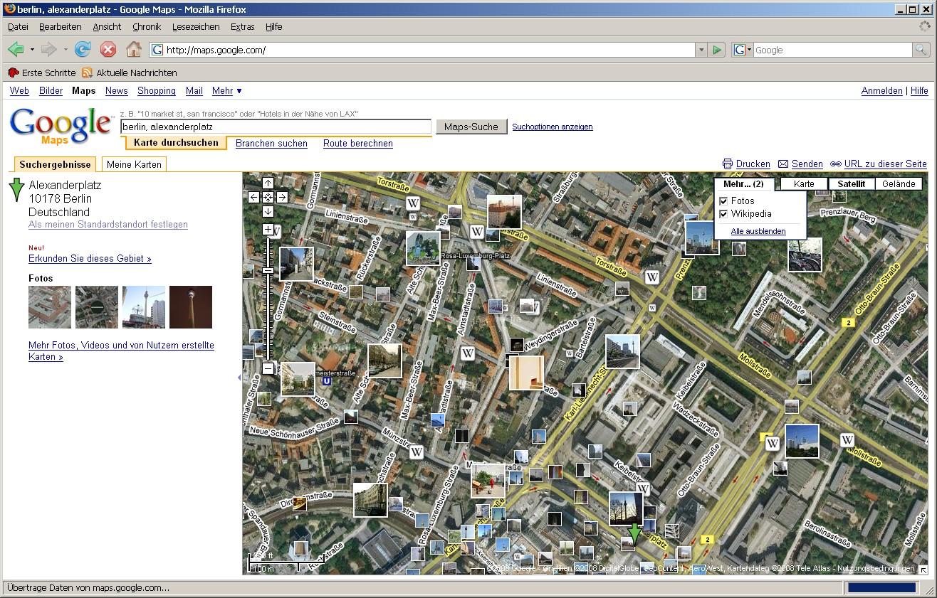 Google Maps mit Wikipediainhalten und Panoramiofotos - Google Maps