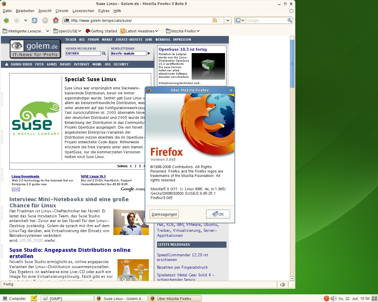 Test: OpenSuse 11.0 mit KDE 4 - Firefox 3