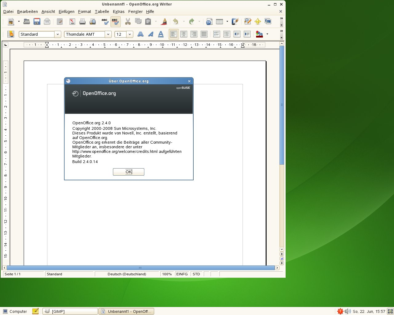 Test: OpenSuse 11.0 mit KDE 4 - OpenOffice.org unter OpenSuse
