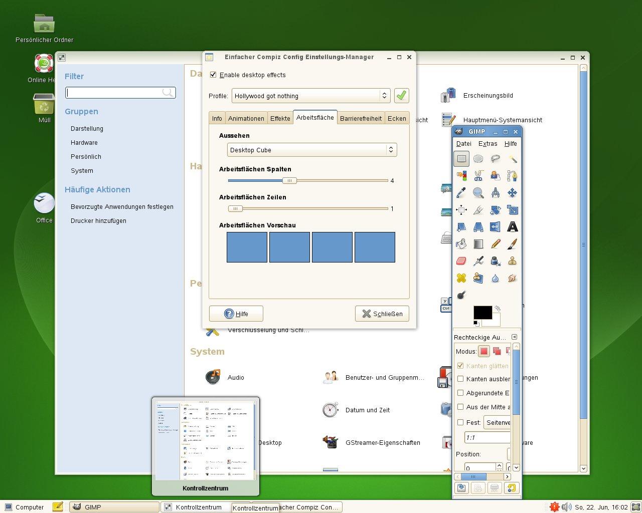 Test: OpenSuse 11.0 mit KDE 4 - Compiz-Vorschau auf minimiertes Fenster