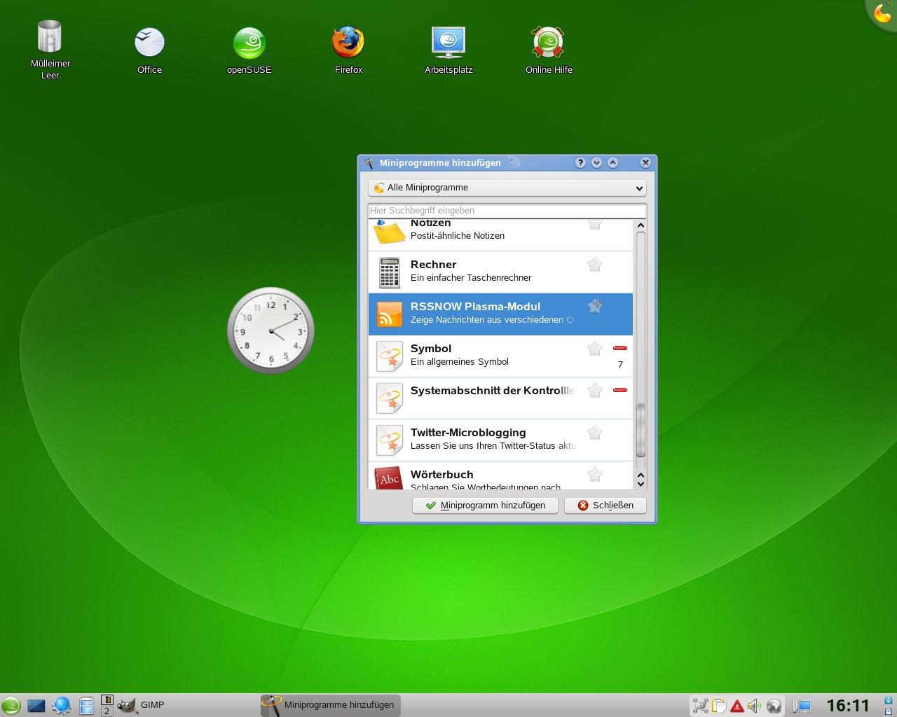 Test: OpenSuse 11.0 mit KDE 4 - Widgets unter KDE