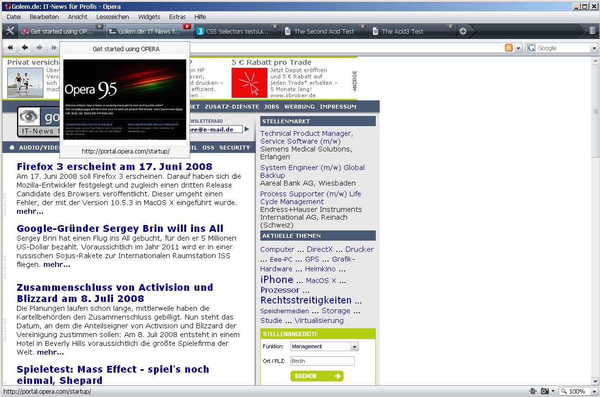 Opera 9.5 ist fertig - Opera 9.5 - Tab-Vorschau