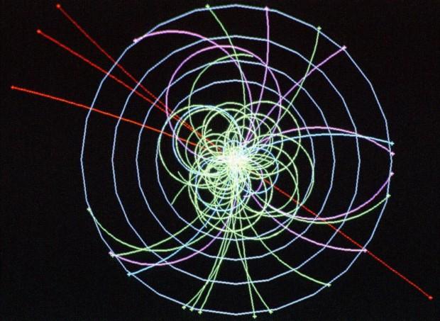 Simuliertes Higgs-Ereignis: Ein Higgs-Boson entsteht aus der Kollision zweier Protonen... (Bild: CERN)