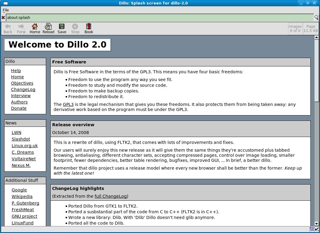 Schlanker Webbrowser Dillo 2.0 veröffentlicht - Dillo 2.0