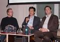 Markus Beckedahl (Netzpolitik.org), Bobby Chang (Rapidshare) und Christian Sommer (GVU); von links nach rechts