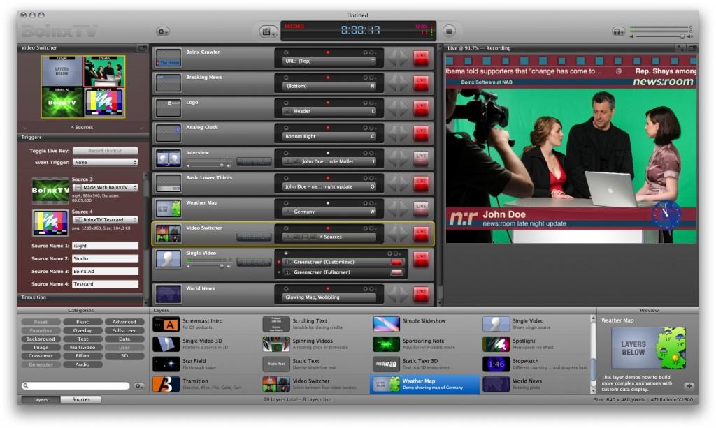 BoinxTV 1.0 - macht den Mac zum kleinen Fernsehstudio -
