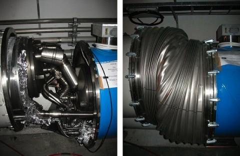 LHC: Zwei der am stärksten beschädigten Verbindungen zwischen supraleitenden Magneten in Sektor  3 - 4 (Foto: CERN)