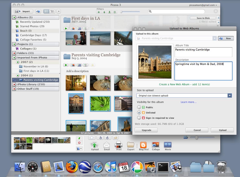 Picasa für Mac -
