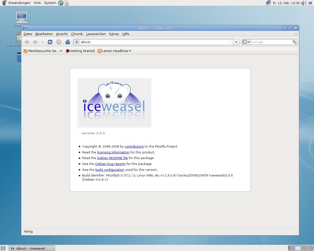Debian 5.0: Ein erster Blick auf Lenny - Debian-Firefox: Iceweasel