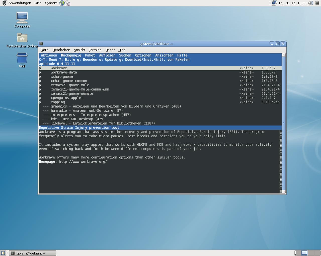 Debian 5.0: Ein erster Blick auf Lenny - Aptitude-Paketverwaltung