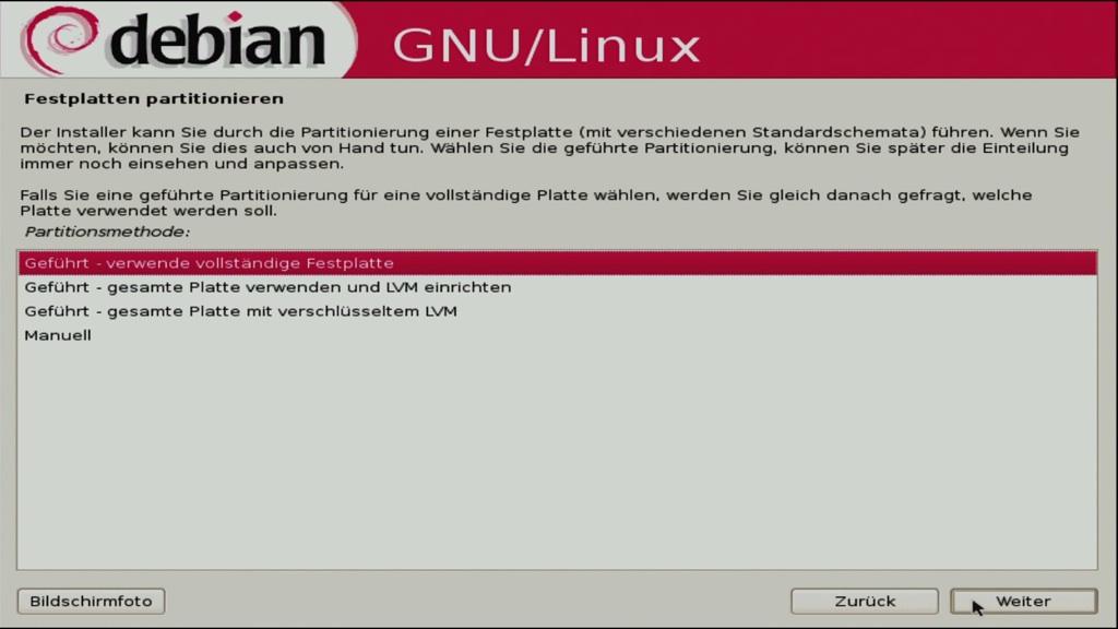 Debian 5.0: Ein erster Blick auf Lenny - Wahl der Partitionierung