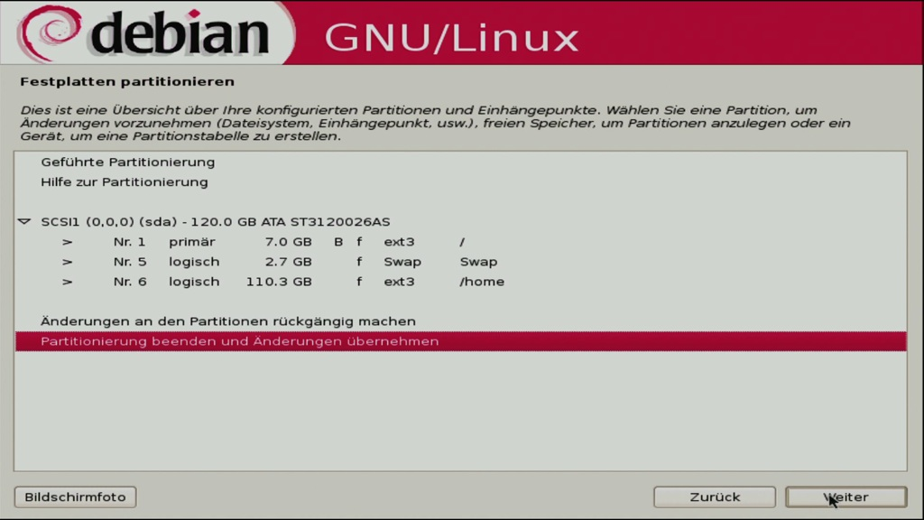 Debian 5.0: Ein erster Blick auf Lenny - Kontrolle des Festplattenlayouts