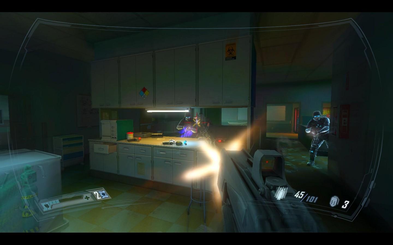 Spieletest: Fear 2 - Action, Angst und Alma - In Laboratorien legt sich Becket mit feindlichen Soldaten an.
