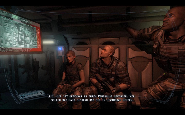 Spieletest: Fear 2 - Action, Angst und Alma - Becket und seine Kameraden auf dem Weg zum Einsatzort.