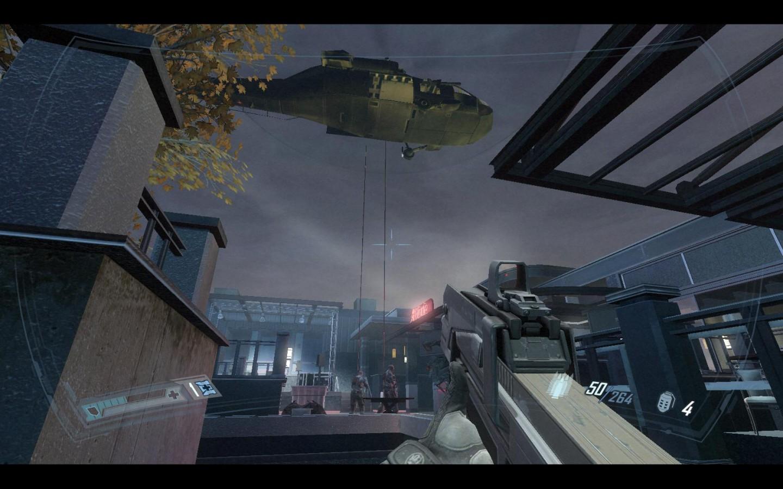 Spieletest: Fear 2 - Action, Angst und Alma - Per Hubschrauber seilen sich Angreifer ab.