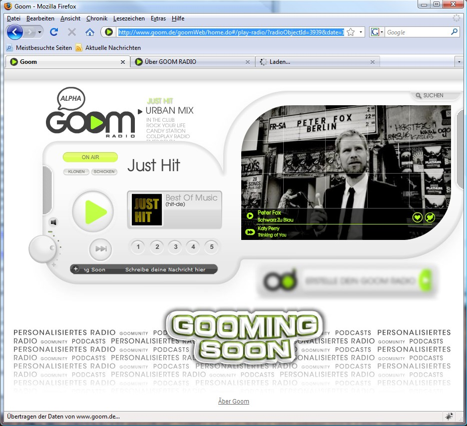 Goom: Moderierte Radiosender in HD-Sound - Webseite von Goom Radio.