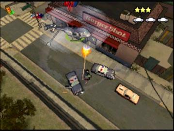 Spieletest: GTA Chinatown Wars - Hosentaschengangster - Showdown vor dem Burgerladen.