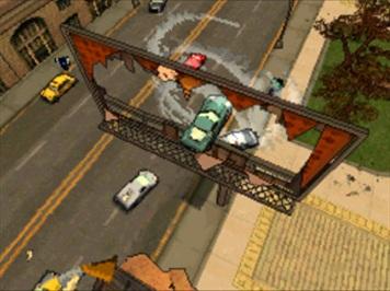 Spieletest: GTA Chinatown Wars - Hosentaschengangster - Sprung durch ein Plakat.