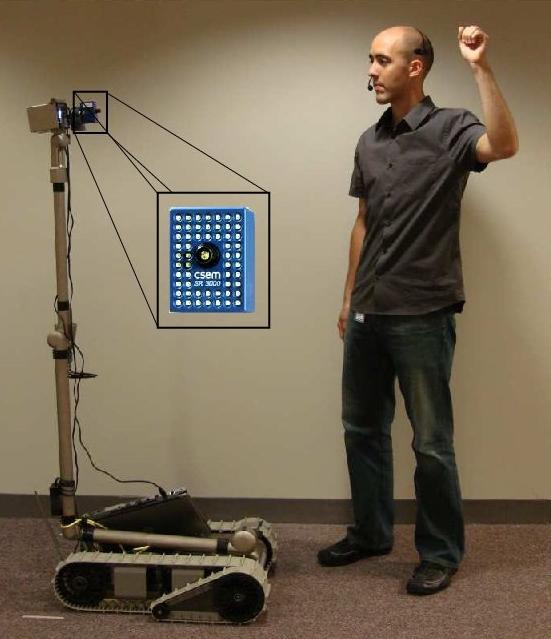 Roboter reagiert auf Handzeichen -