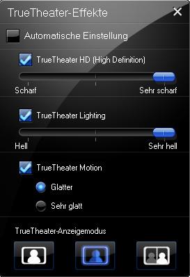 PowerDVD 9 skaliert DVDs und unterstützt bald CUDA - PowerDVD 9 - TrueTheater-Einstellungen im Cinema-Modus