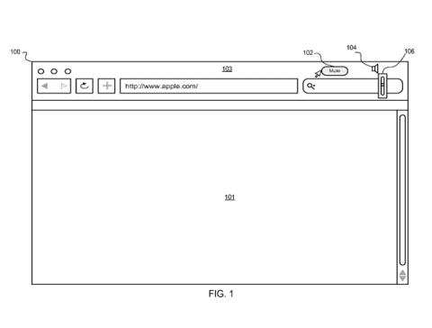 Apple Browser-Lautstärkeregulierung (Skizze aus dem US-Patentantrag)