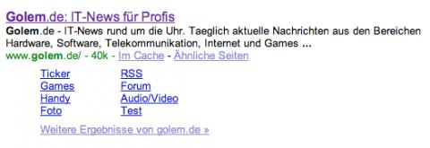 Acht Sitelinks unter dem ersten Suchergbnis.