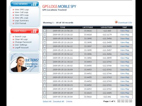Retina-X Studios Mobile Spy - Beispiel für GPS-Logs