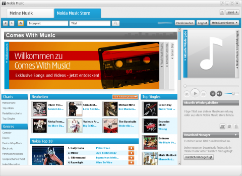 Nokia Comes With Music - Startbildschirm des Onlineshops