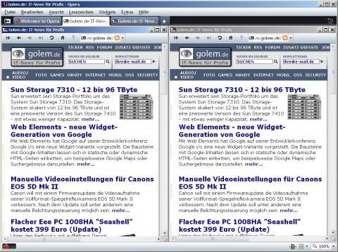 Opera 10 - Golem.de einmal mit und ohne Opera Turbo im direkten Vergleich