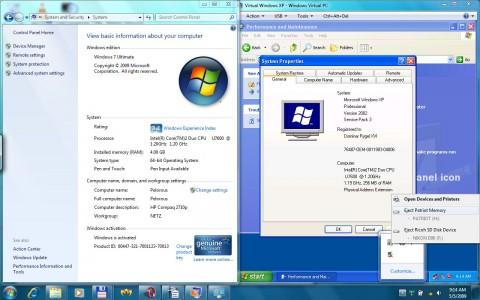 Windows-XP-Modus: Aero Peek funktioniert nur, wenn die virtuelle Maschine direkt gestartet wird.