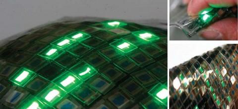Das flexible OLED-Display kann an gekrümmte Oberflächen angepasst werden.