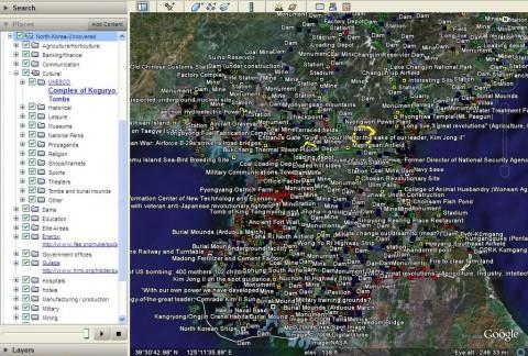 North Korea Uncovered zeigt hunderte Orte in Nordkorea. Die Informationen stammen von Nutzern (Screenshot: North Korea Uncovered).