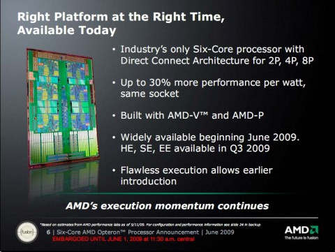Laut AMD ab sofort verfügbar: der Opteron mit sechs Kernen