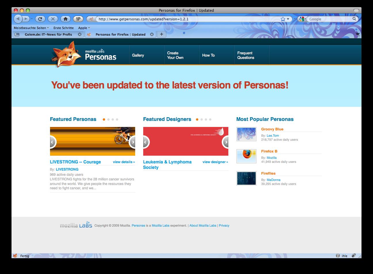 Firefox 3.5 - die Neuerungen im Detail - Firefox 3.5 mit Personas