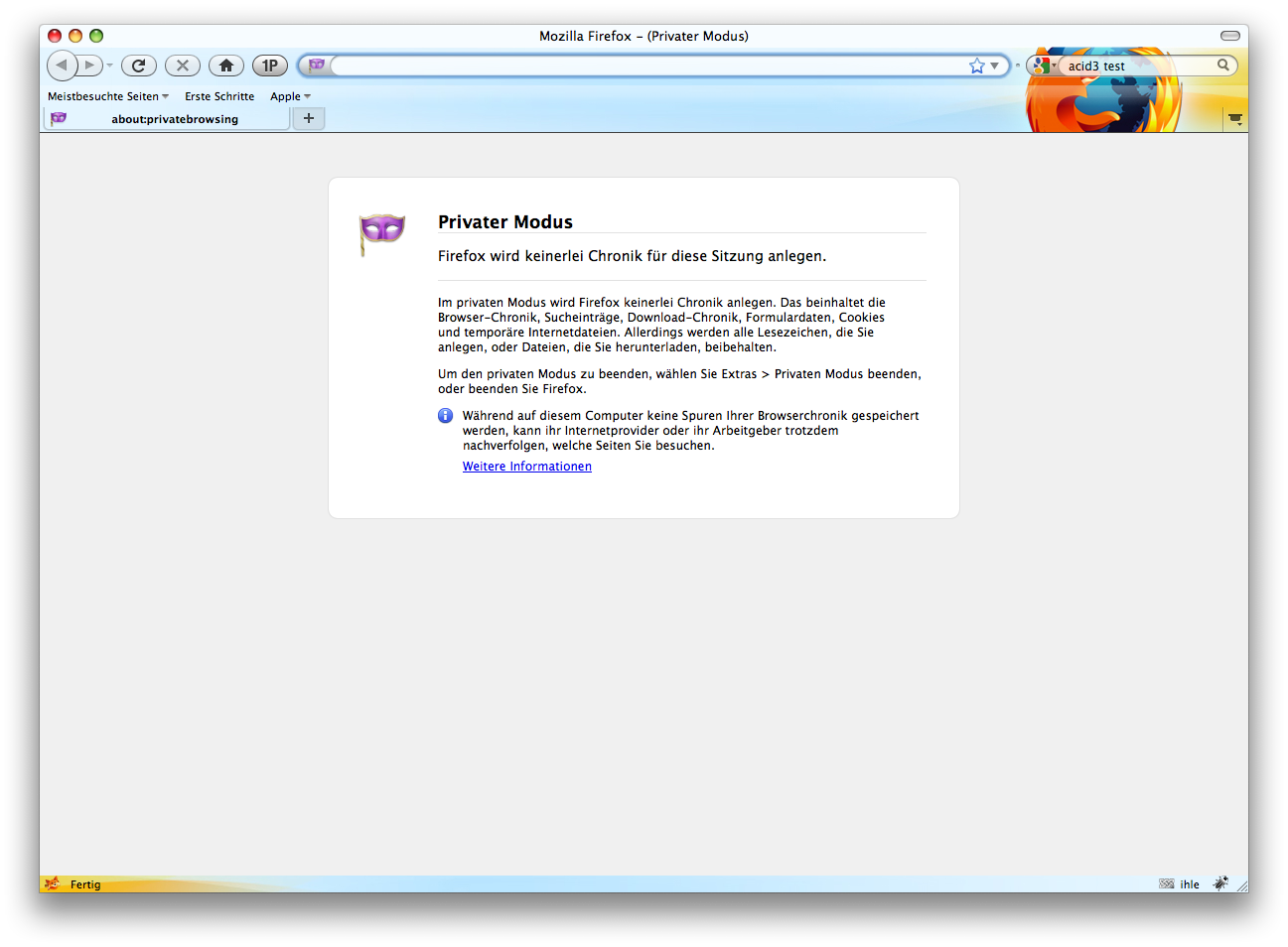 Firefox 3.5 - die Neuerungen im Detail - Firefox 3.5 - Private Browsing