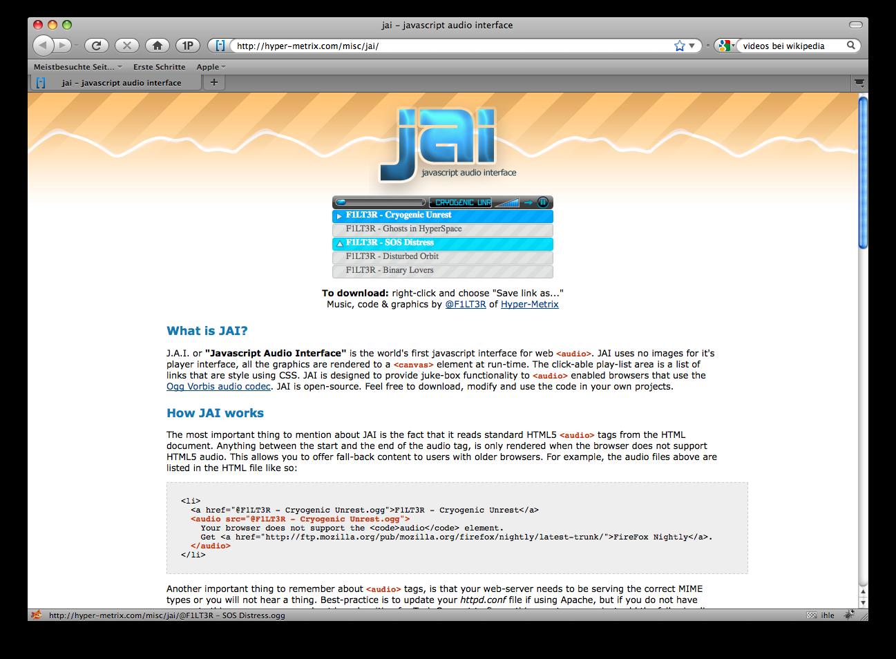 Firefox 3.5 - die Neuerungen im Detail - Firefox 3.5 - Audioplayer ohne Plug-ins