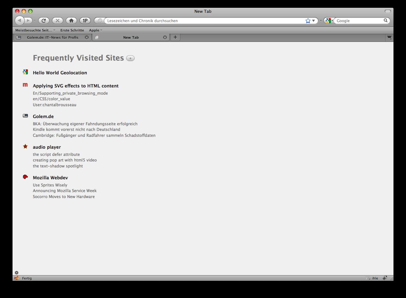 Firefox 3.5 - die Neuerungen im Detail - Firefox 3.5 - neues Tab