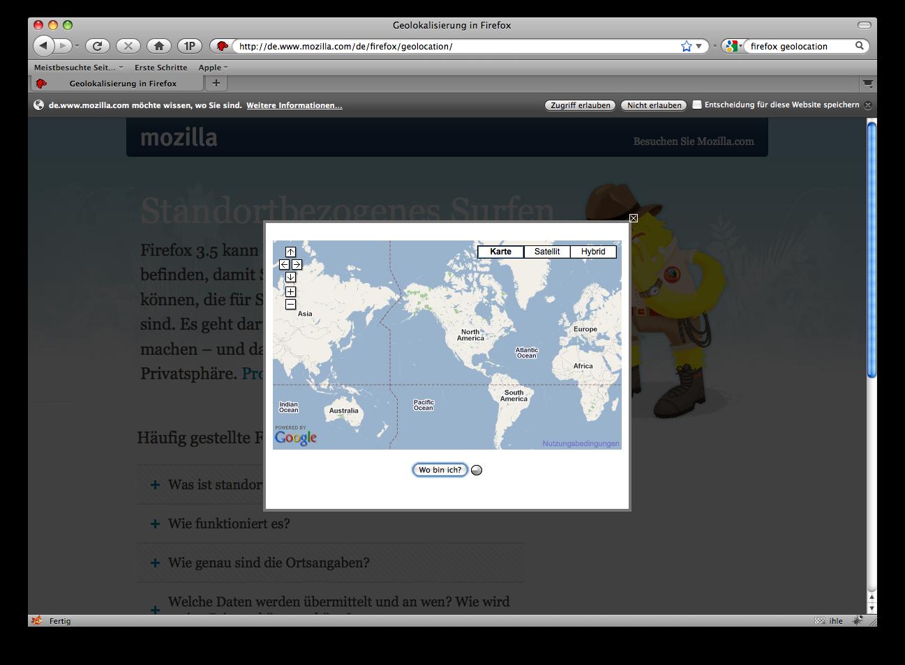 Firefox 3.5 - die Neuerungen im Detail - Firefox 3.5 - Geolocation