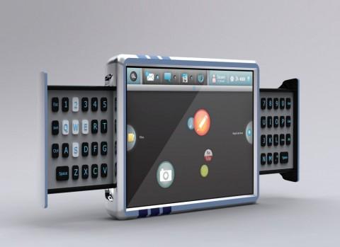 Smartbook-Prototyp mit Schiebe-Tastatur