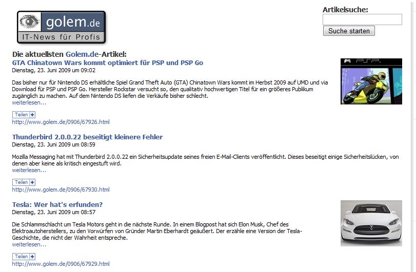 Golem.de-API - Schnittstelle für Entwickler - Golem.de - Beispielapplikation auf Facebook