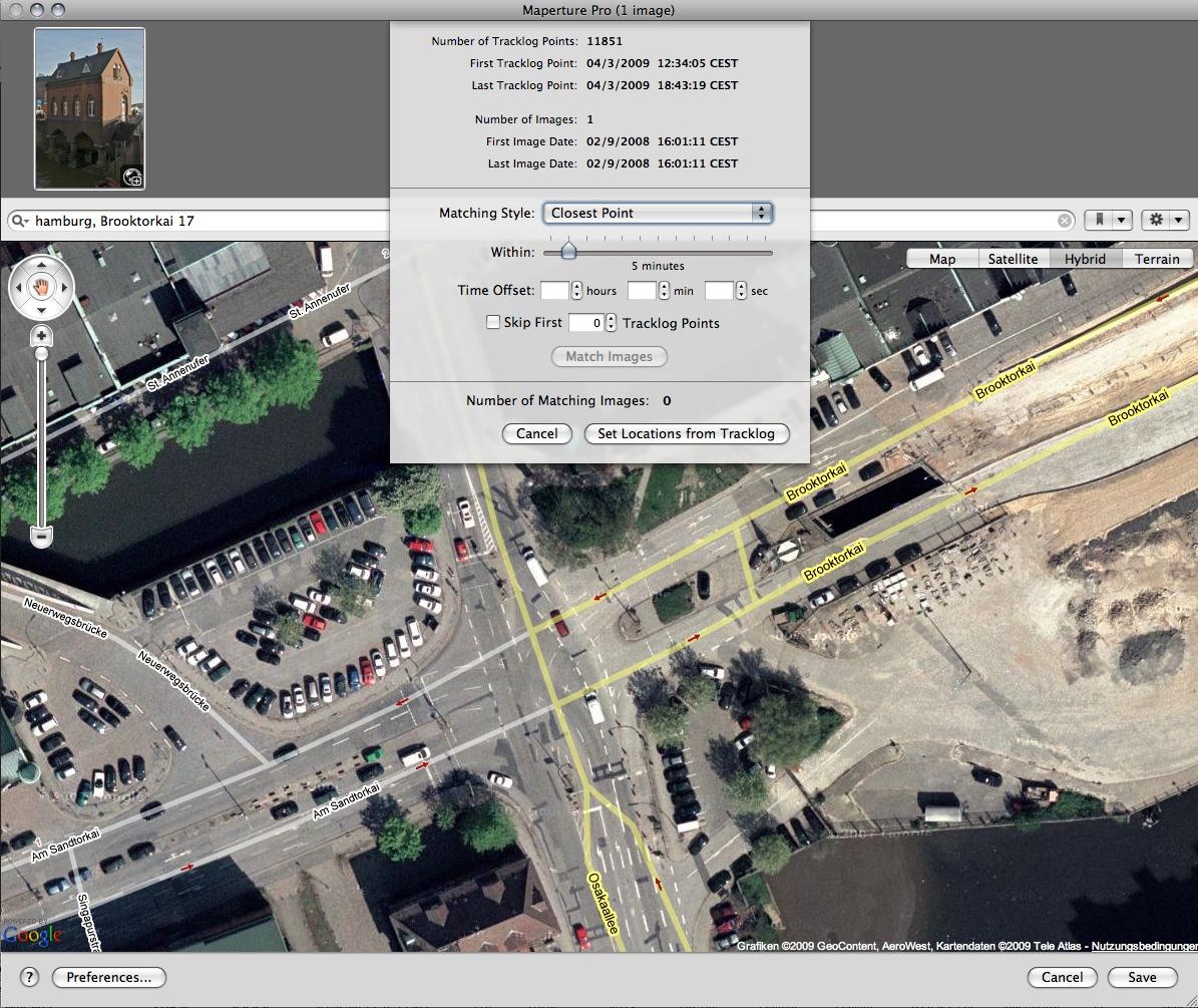 Geotagging für Apples Aperture - Maperture Pro Import eines GPS-Logs