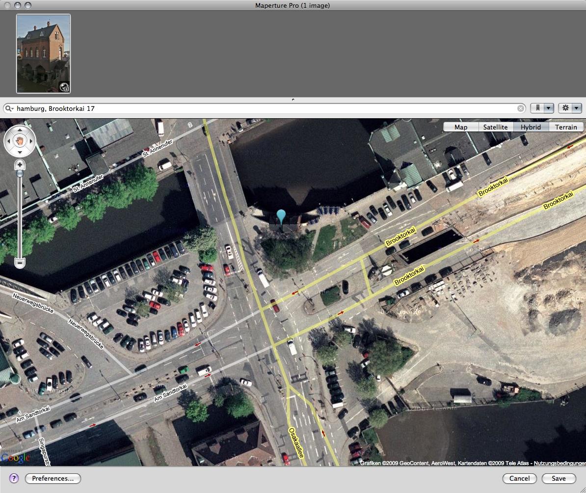 Geotagging für Apples Aperture - Markierung eines Aufnahmepunktes