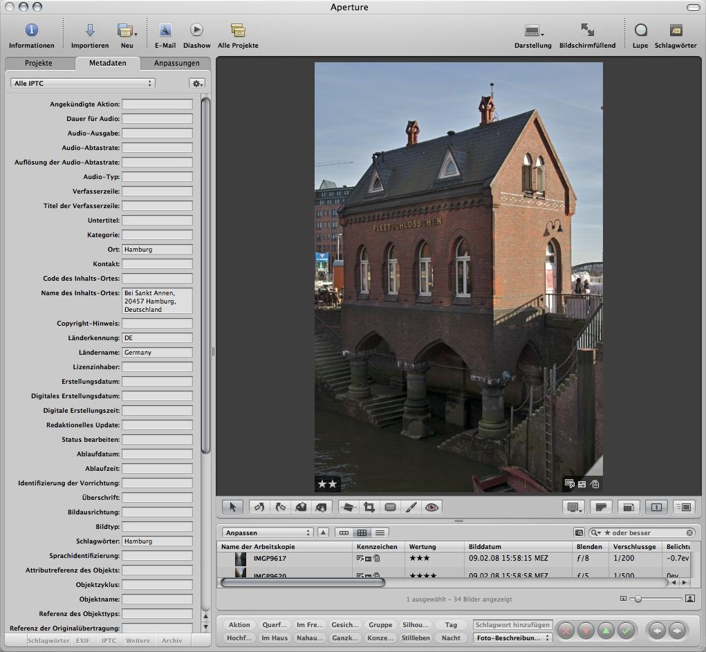 Geotagging für Apples Aperture - IPTC Datenfelder nach dem Geotagging