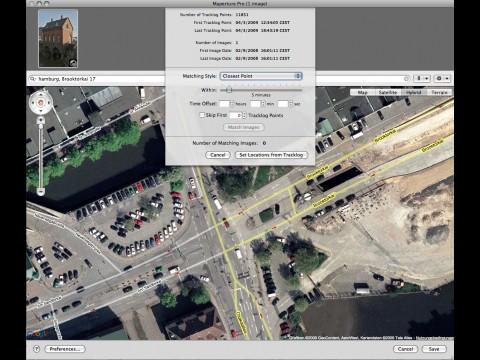 Maperture Pro Import eines GPS-Logs