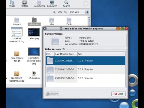 Dateisystemschnappschüsse lassen sich mit dem Time Slider verwalten.