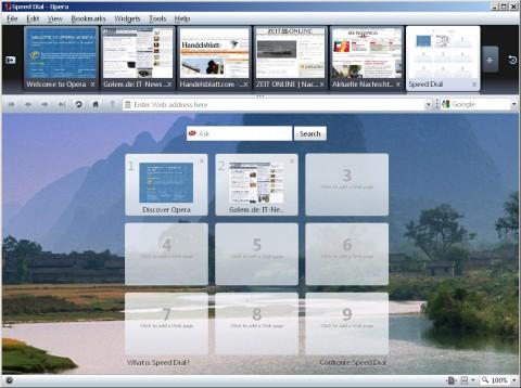Opera 10 Beta - Schnellwahlseite mit Hintergrundfoto