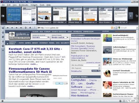 Opera 10 Beta - Vorschaufunktion in Tableiste mit vielen geöffneten Webseiten